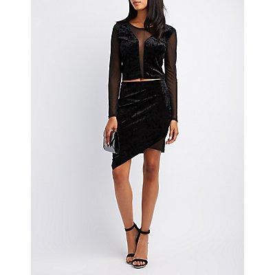 Velvet & Mesh-Inset Asymmetrical Skirt