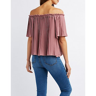 Pleated Off-The-Shoulder Top