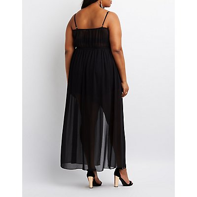 Plus Size Embroidered Layered Maxi Romper