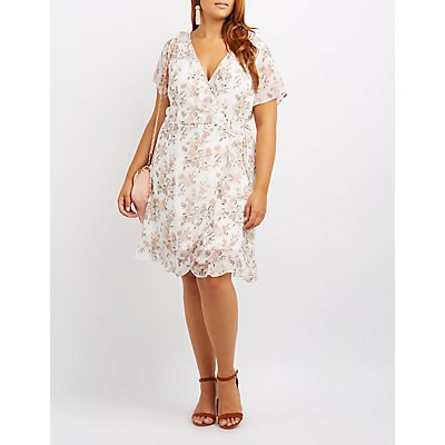 Plus Size Floral Ruffle-Trim Wrap Dress