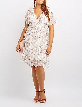 Plus Size Floral Ruffle-Trim Wrap Dress