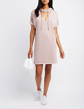 Hooded Cut-Out Sweater Dress