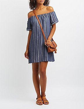 Striped Chambray Off-The-Shoulder Dress