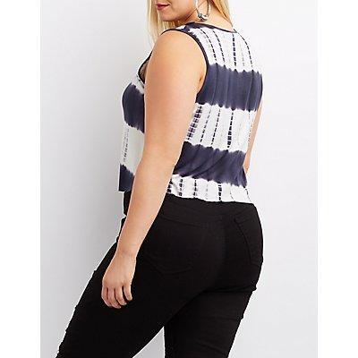 Plus Size Mesh-Inset Tie Dye Tank Top