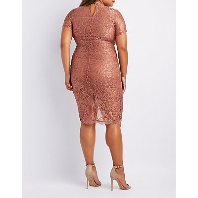 Plus Size Lace Choker Neck Bodycon Dress