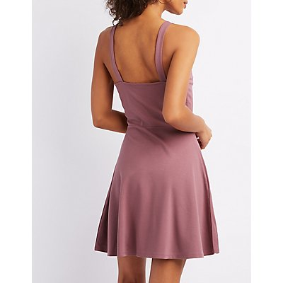 Plunging Notched Skater Dress