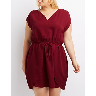 Plus Size Drawstring Tulip Dress