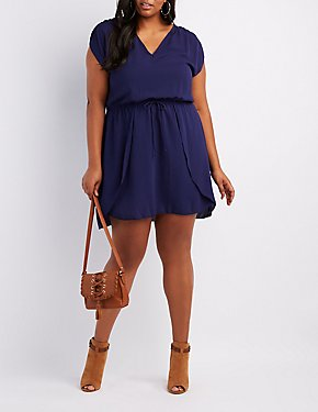 Plus Size Drawstring Tulip Dress