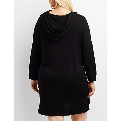 Plus Size Lace-Up Hooded Sweatshirt Dress