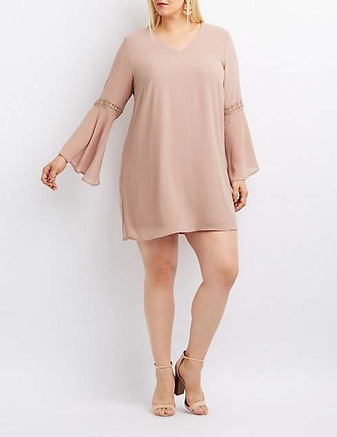Plus Size Bell Sleeve Keyhole Shift Dress Charlotte Russe