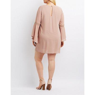 Plus Size Bell Sleeve Keyhole Shift Dress