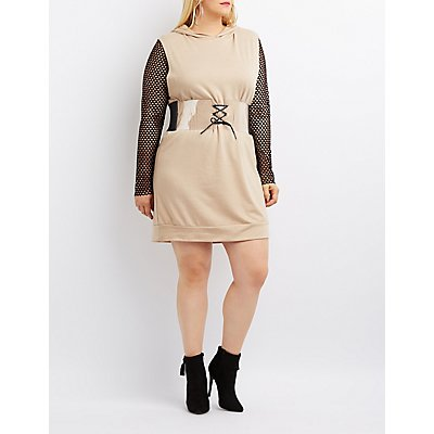 Plus Size Mesh Combo Hooded Sweatshirt Dress