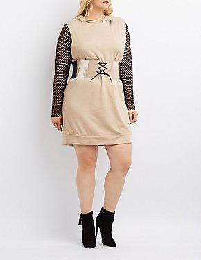 Plus Size Mesh Combo Hooded Sweatshirt Dress