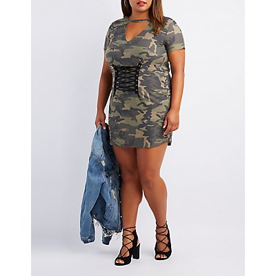 Plus Size Camo Corset-Detail Dress