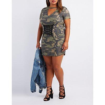 Plus Size Camo Corset-Detail Dress