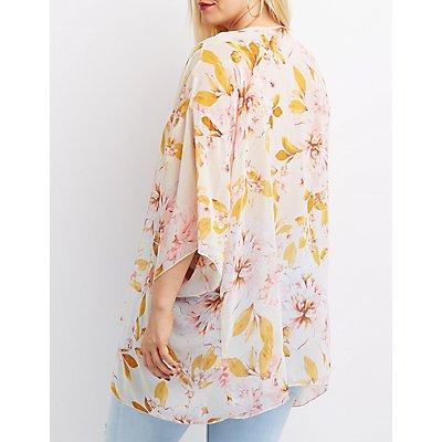 Plus Size Floral Dolman Sleeve Kimono