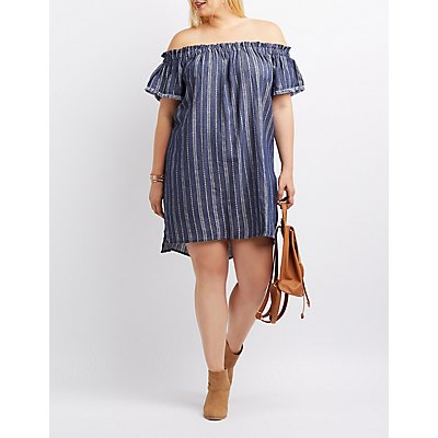 Plus Size Chambray Off-The-Shoulder Shift Dress
