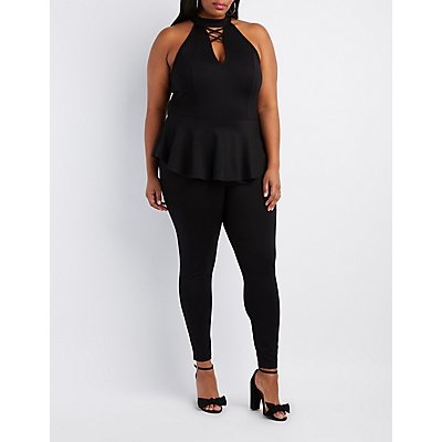 Plus Size Lattice-Front Peplum Jumpsuit