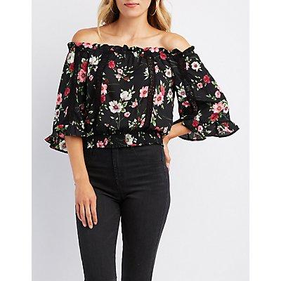 Floral Crochet Inset Off-The-Shoulder Top