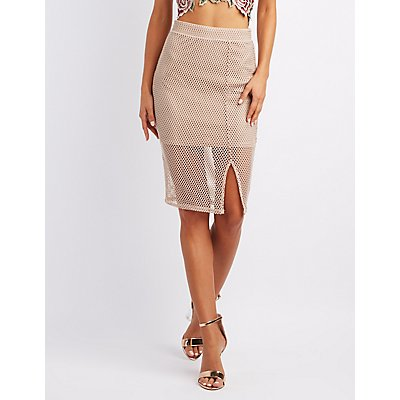 Mesh Bodycon Midi Skirt