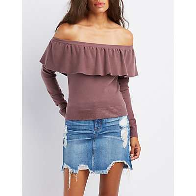 Off-The-Shoulder Cropped Sweater