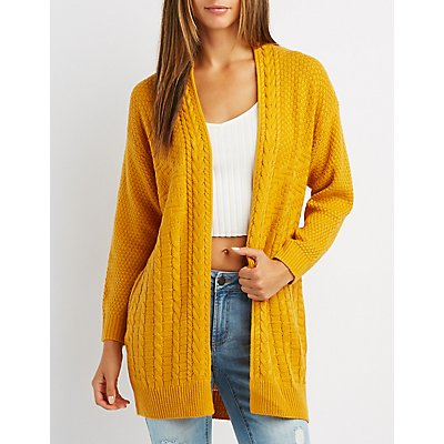 Mixed Knit Open-Front Cardigan