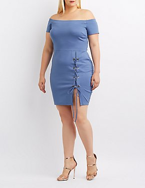 Plus Size Off-The-Shoulder Lace-Up Bodycon Dress