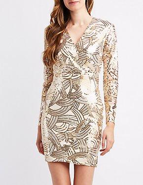 Scallop V-Neck Sequins Bodycon Dress