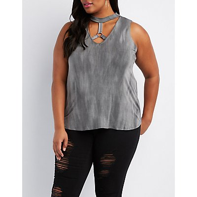 Plus Size Caged O-Ring Tank Top
