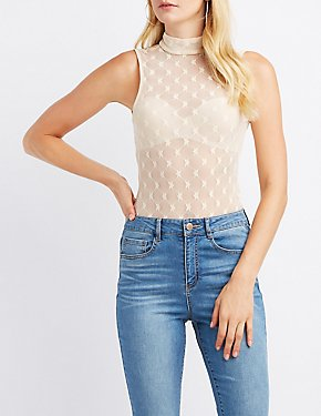 Star Mesh Mock Neck Bodysuit