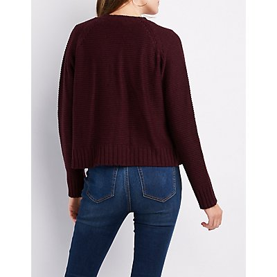 Shaker Stitch Open-Front Boyfriend Sweater