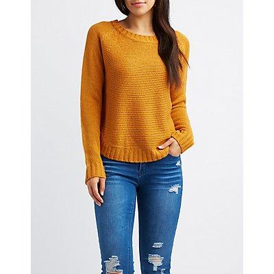 Pointelle Crew Neck Sweater