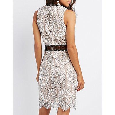 Lace Crochet-Trim Bodycon Dress