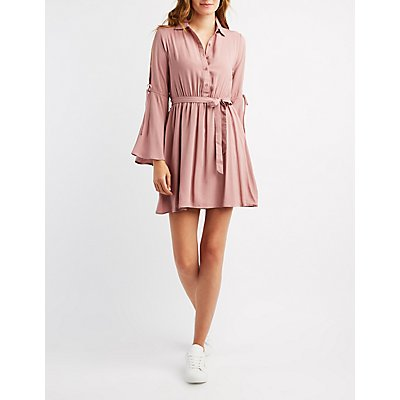 Cold Shoulder Button-Up Skater Dress