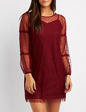Swiss Dot Ruffle-Trim Shift Dress