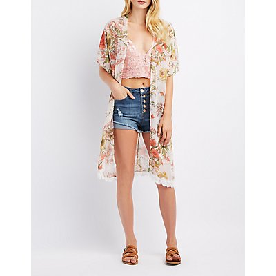 Floral Lace-Hem Kimono