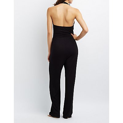 Caged Halter Wide-Leg Jumpsuit