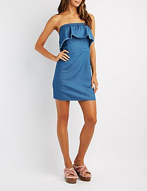 Ruffle-Trim Strapless Chambray Dress
