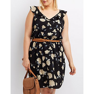Plus Size Floral Ruffle-Trim Dress