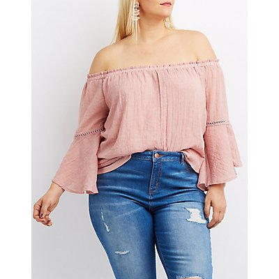 Plus Size Crochet-Inset Off-The-Shoulder Bell Sleeve Top