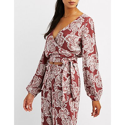 Paisley Split Sleeve Wrap Top