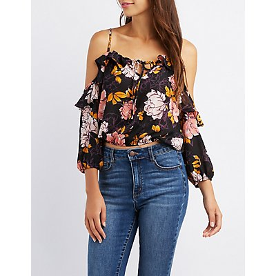 Floral Tie-Front Cold Shoulder Crop Top