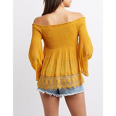 Lace-Trim Smocked Off-The-Shoulder Top