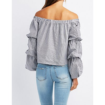 Striped Ruched Sleeve Off-The-Shoulder Top