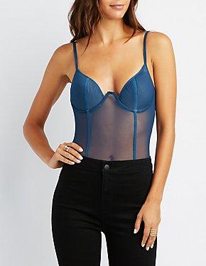Sheer Mesh Bustier Bodysuit