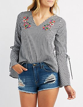 Embroidered Gingham Bell Sleeve Top