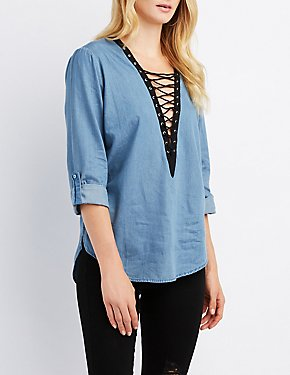 Chambray Lace-Up Blouse