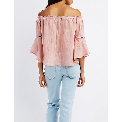 Crochet-Trim Off-The-Shoulder Bell Sleeve Top