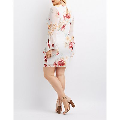 Plus Size Floral Mesh Bell Sleeve Dress