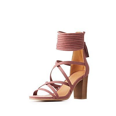 Tubular Strappy Tassel-Back Sandals
